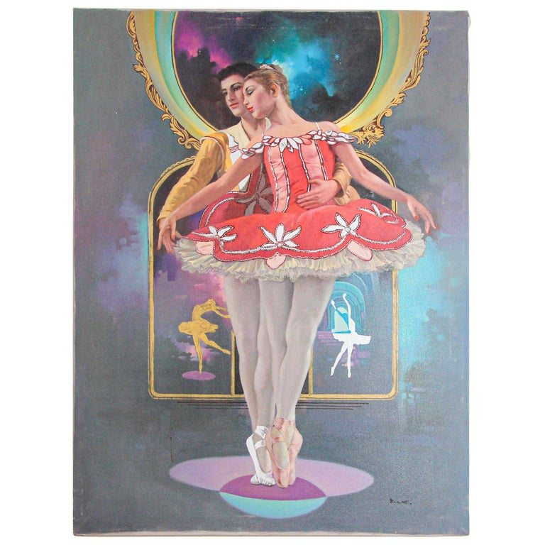 Classical Ballet Dancers Oil Painting on Canvas For Sale