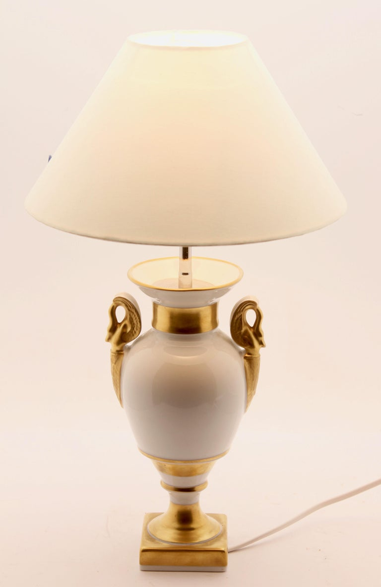 Empire Revival Classical Baluster-Shaped Porcelain Table Lamp Base by Baudour, Belgium For Sale
