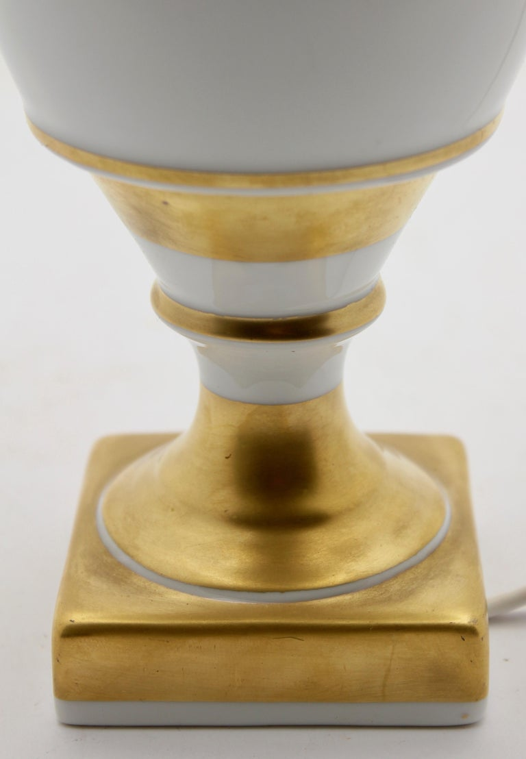 Mid-20th Century Classical Baluster-Shaped Porcelain Table Lamp Base by Baudour, Belgium For Sale