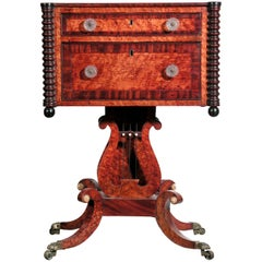 Classical Bird's-Eye Maple Classical Sewing Table with Carved Lyre and Paw Feet