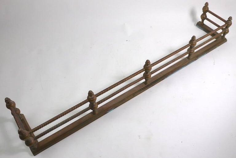 Classical Brass Fireplace Fender For Sale 1