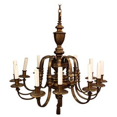 Classical Brass Twelve-Light Chandelier Style of E.F. Caldwell