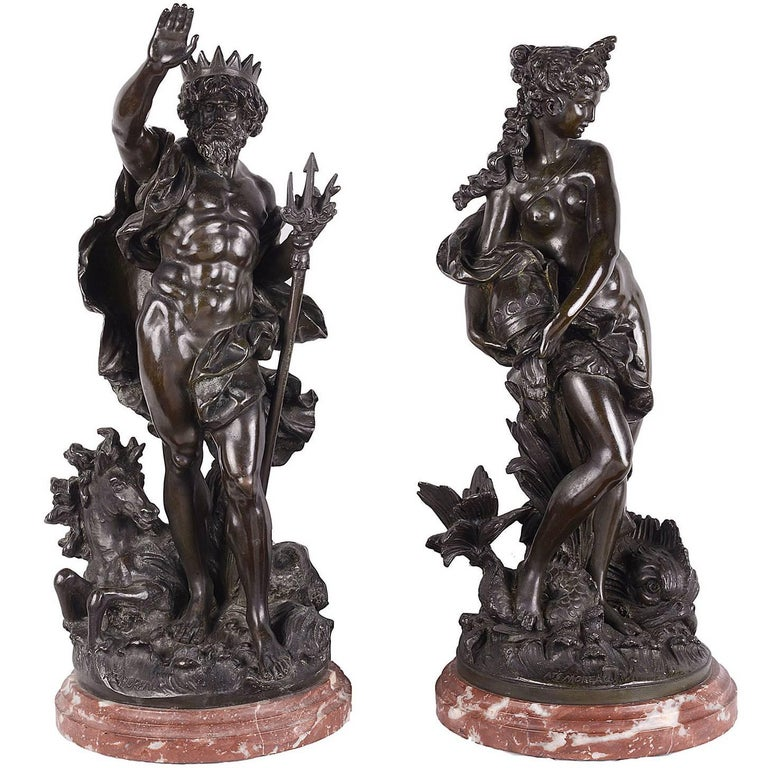 Classical Bronze 19th Century Statues of Neptune and Aphrodite, Signed; Moreau