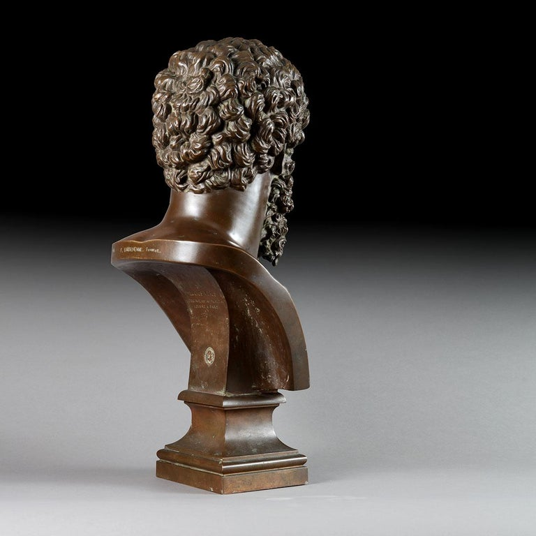 French Classical Bronze Bust of Lucius Verus, by Barbedienne, France, 19th Century For Sale
