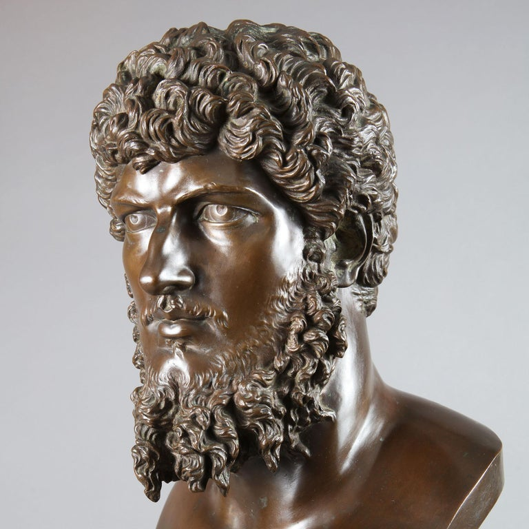 Classical Bronze Bust of Lucius Verus, by Barbedienne, France, 19th Century For Sale 4