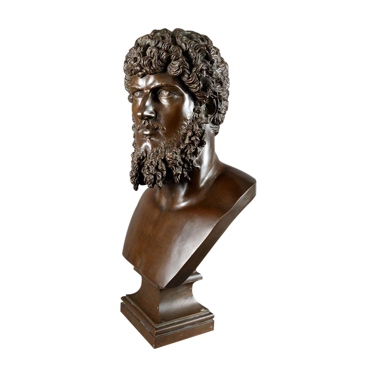 Classical Bronze Bust of Lucius Verus, by Barbedienne, France, 19th Century