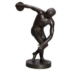 Classical Bronze Figural Sculpture, Discobolus of Myron, circa 1890