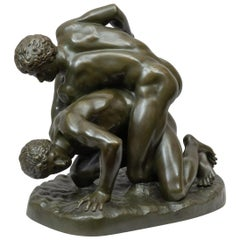 """Classical Bronze Figure """"The Wrestlers"""" Inscribed 'Musee de Florence"""" circa 1890"""