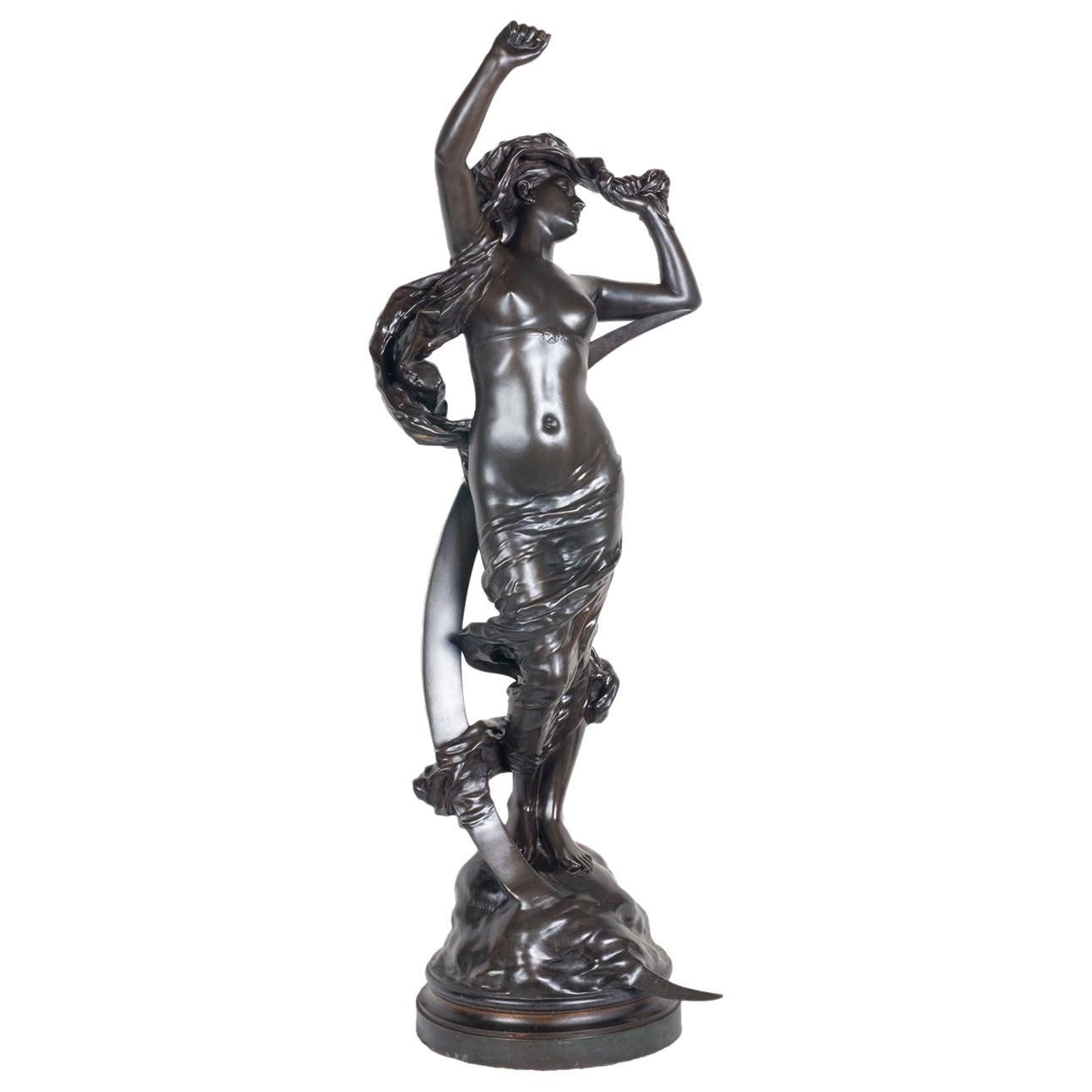 Classical Bronze Maiden by Henri Houdebine, 19th Century