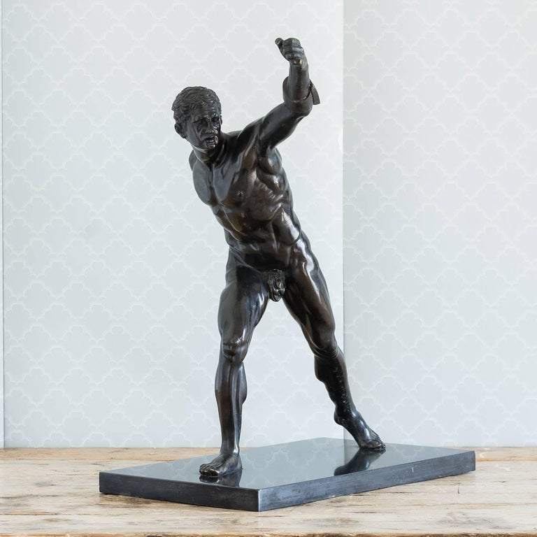 Classical Roman Classical Bronze Model of the Borghese Gladiator For Sale