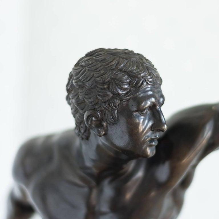 Belgian Black Marble Classical Bronze Model of the Borghese Gladiator For Sale