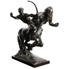 Classical Bronze Sculpture by French Sculptor Pierre Traverse, Archer & Centaur