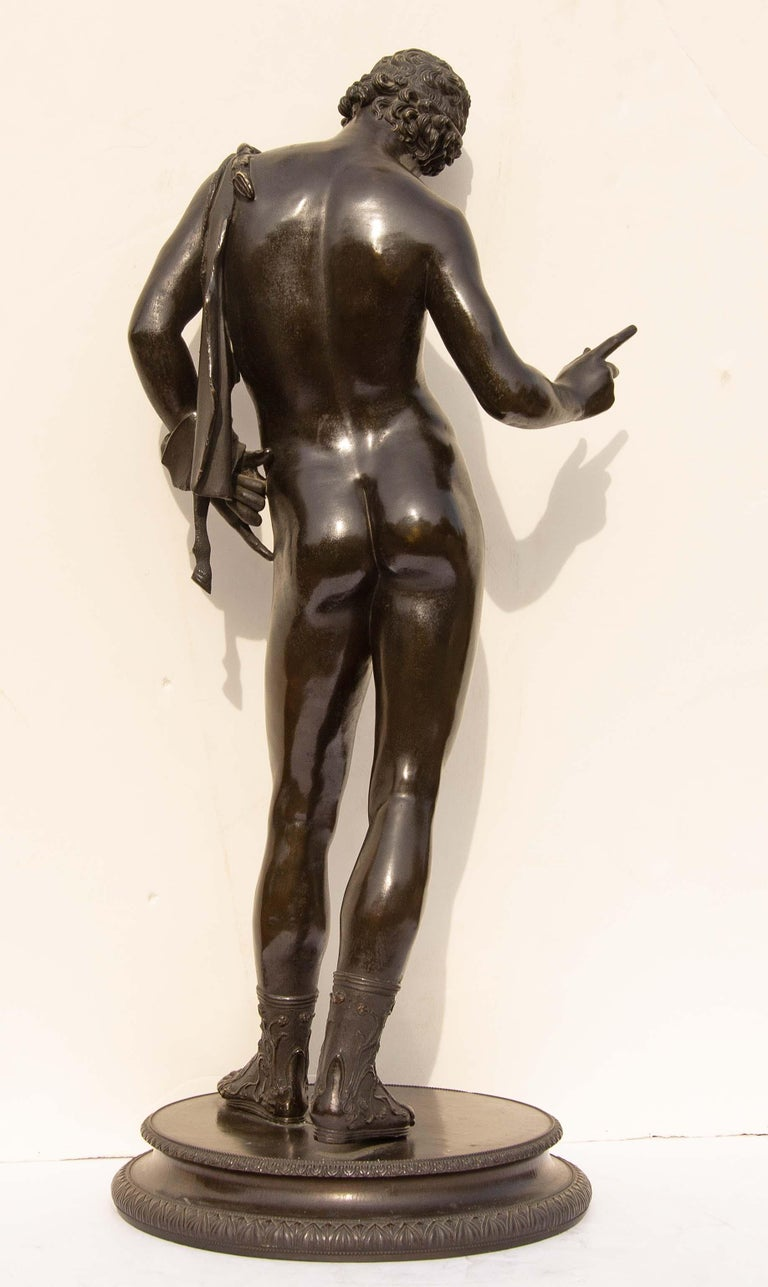 Patinated Classical Bronze Sculpture of Narcissus For Sale