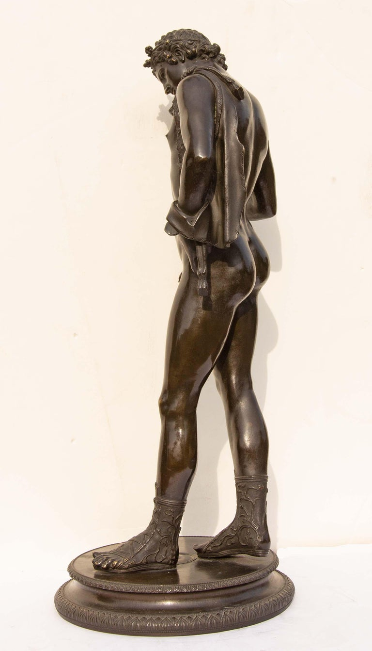Classical Bronze Sculpture of Narcissus In Good Condition For Sale In Rochester, NY