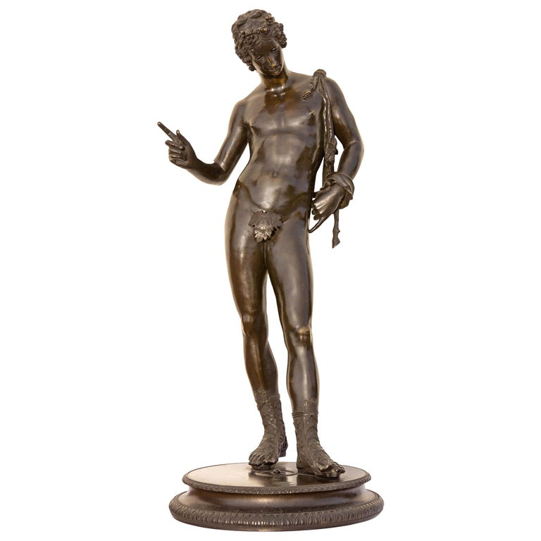 Classical Bronze Sculpture of Narcissus For Sale