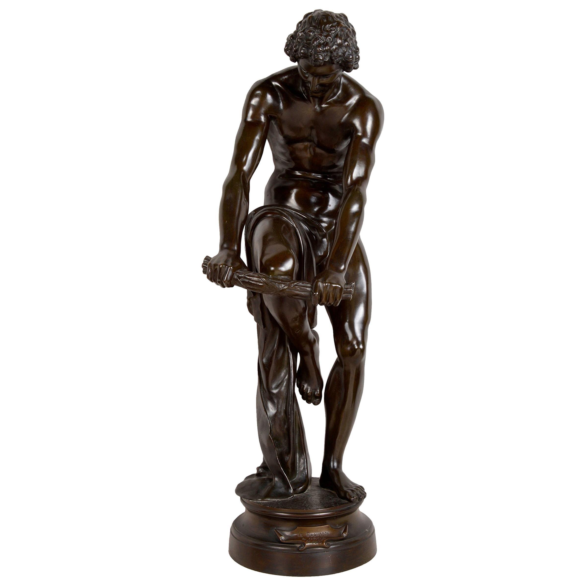 Classical Bronze Statue of a Man Woodsman