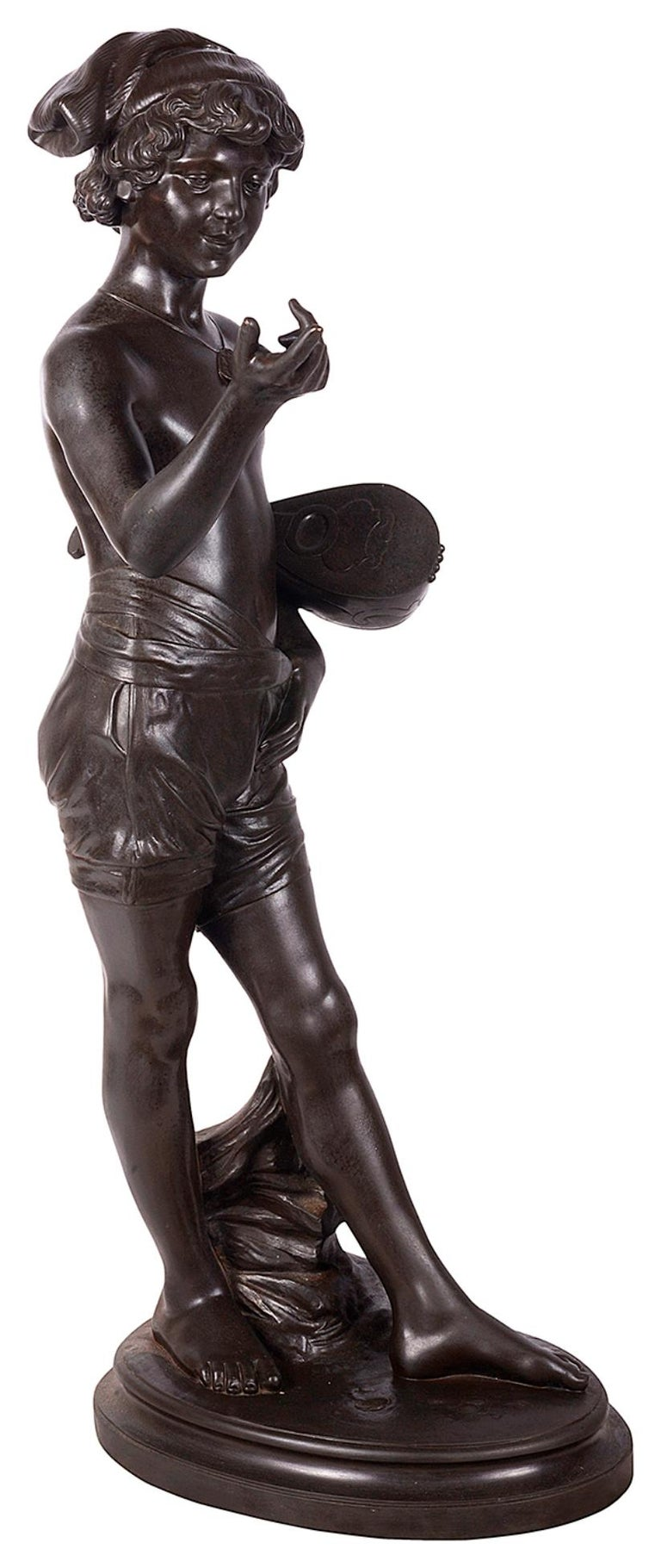 Romantic Classical Bronze Statue of Boy Holding a Mandolin, circa 1880 For Sale