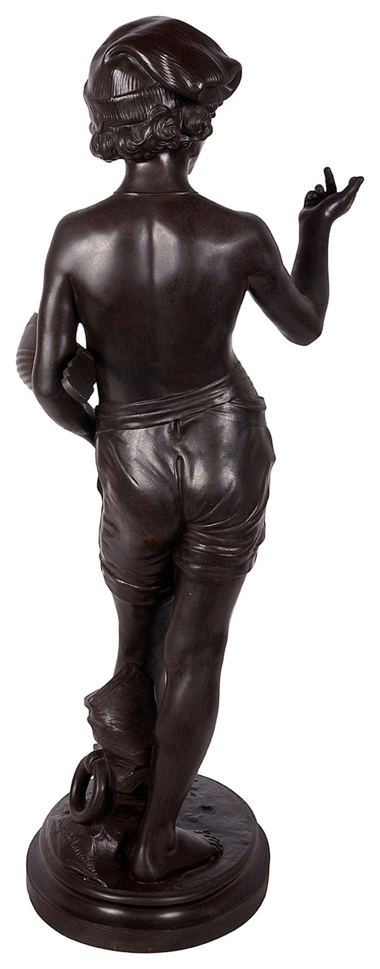 Italian Classical Bronze Statue of Boy Holding a Mandolin, circa 1880 For Sale