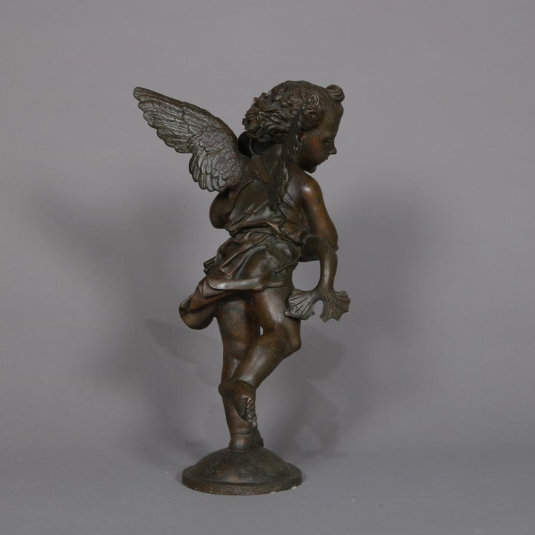 Metal Classical Bronzed Figural Sculpture Fountain Head, Cherub with Fish 20th Century For Sale