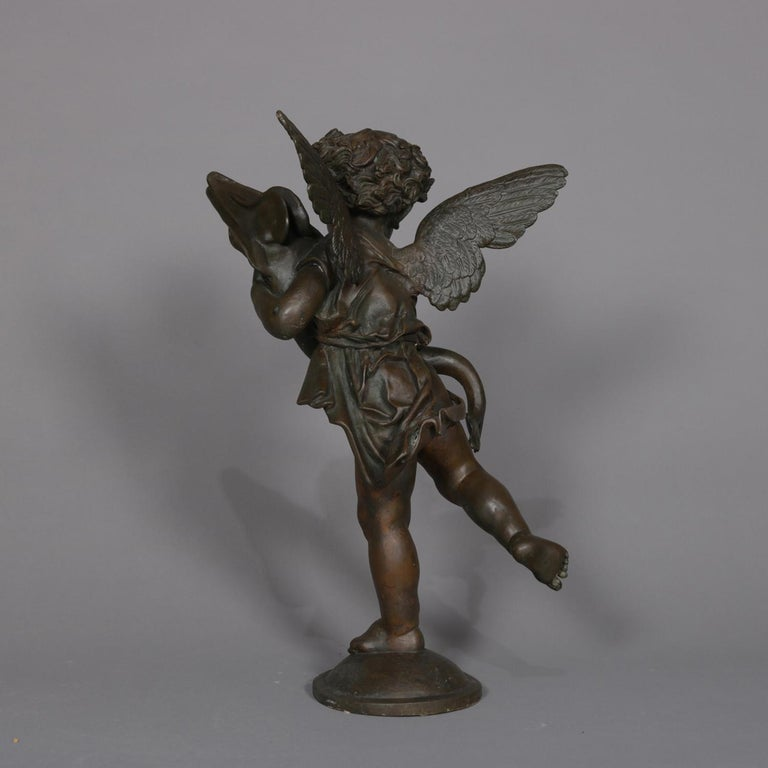 Classical Bronzed Figural Sculpture Fountain Head, Cherub with Fish 20th Century For Sale 1
