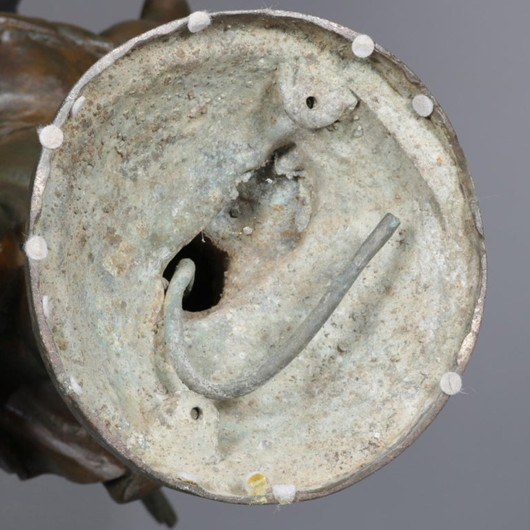 Classical Bronzed Figural Sculpture Fountain Head, Cherub with Fish 20th Century For Sale 2