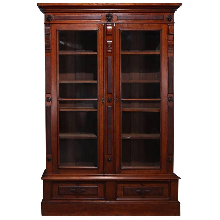 Classical Burl Walnut Two-Drawer Locking Bookcase With