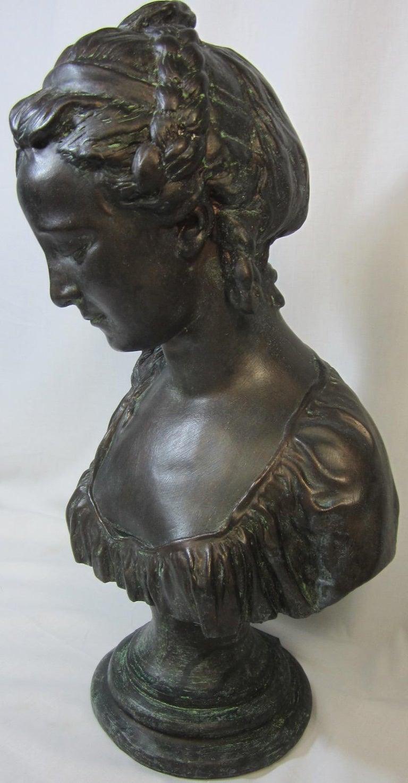 Classical plaster bust, La chercheuse d'esprit, by Australian sculptor Nick Leavy weighs 8 kg, Painted bronze finish.