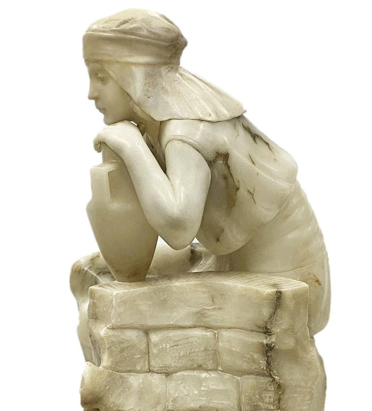 Romantic Classical 19th Century Alabaster Statue of Young Arab Girl For Sale