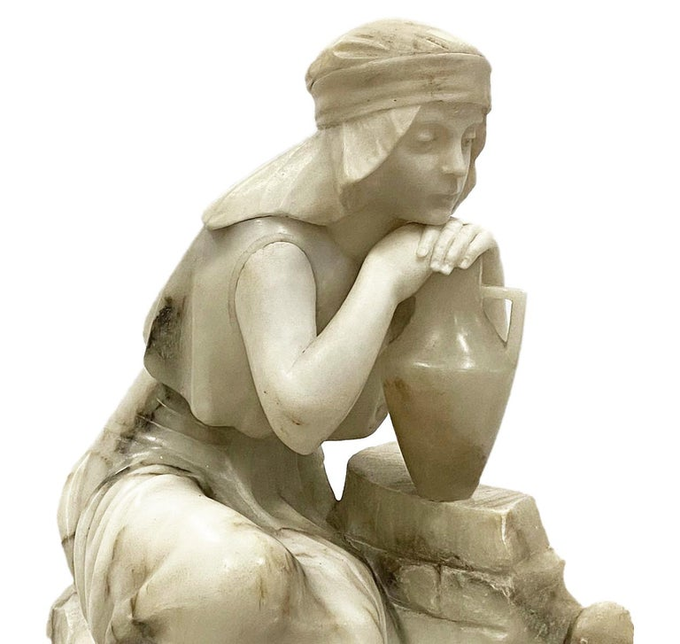 Italian Classical 19th Century Alabaster Statue of Young Arab Girl For Sale