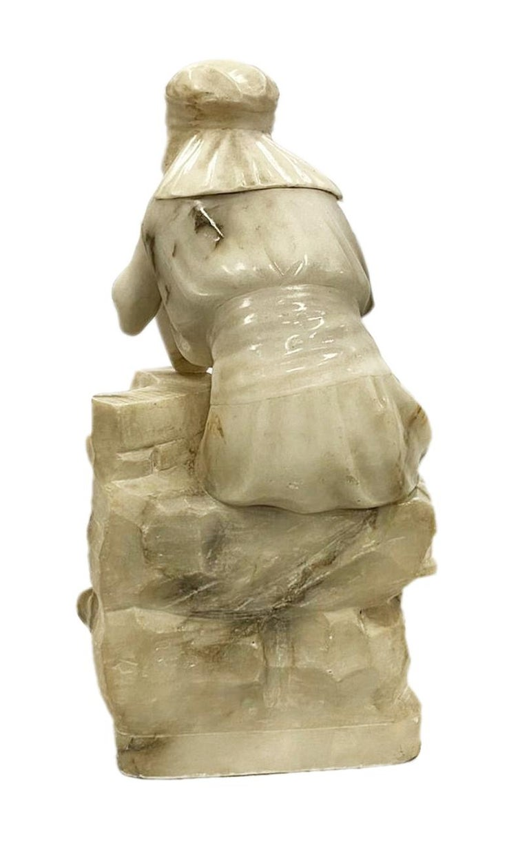 Hand-Carved Classical 19th Century Alabaster Statue of Young Arab Girl For Sale