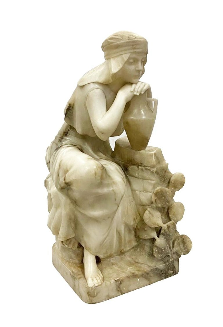 Classical 19th Century Alabaster Statue of Young Arab Girl In Good Condition For Sale In Brighton, Sussex