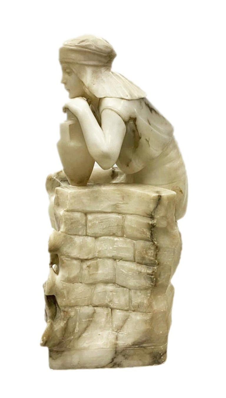 Classical 19th Century Alabaster Statue of Young Arab Girl For Sale 1