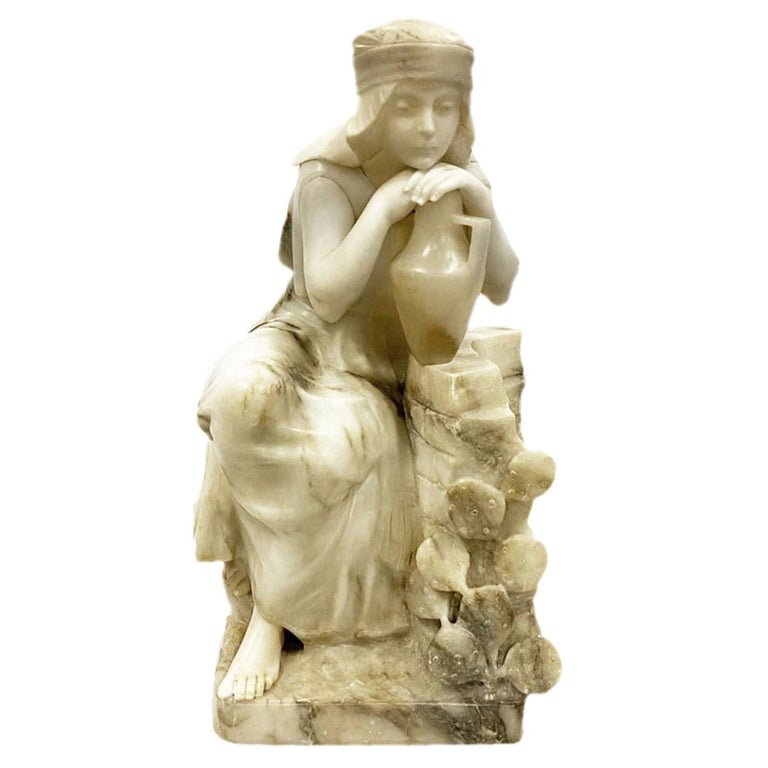 Classical 19th Century Alabaster Statue of Young Arab Girl For Sale