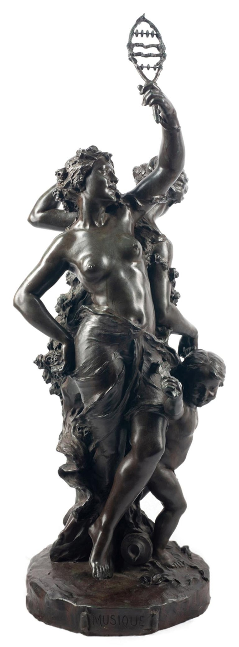 Classical C19th Bronze statue, depicting Music and Dance,  JEAN-BAPTISTE GERMAIN For Sale 5