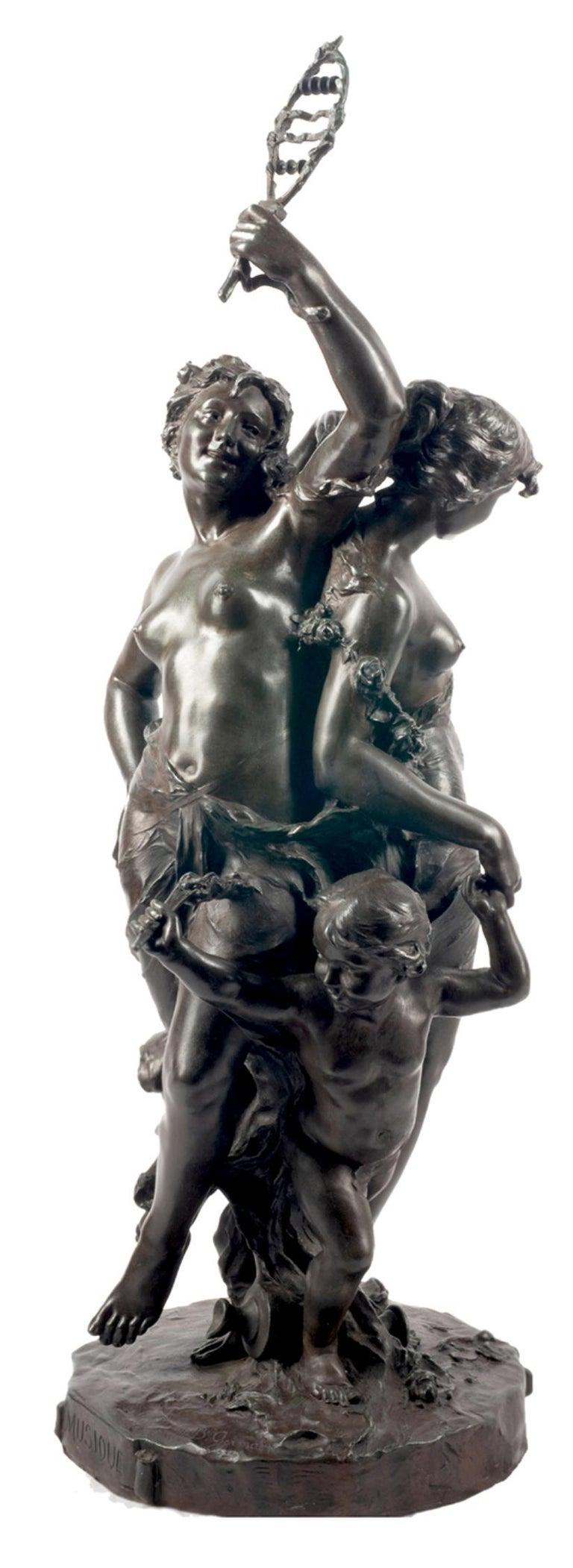 Classical C19th Bronze statue, depicting Music and Dance,  JEAN-BAPTISTE GERMAIN For Sale 12
