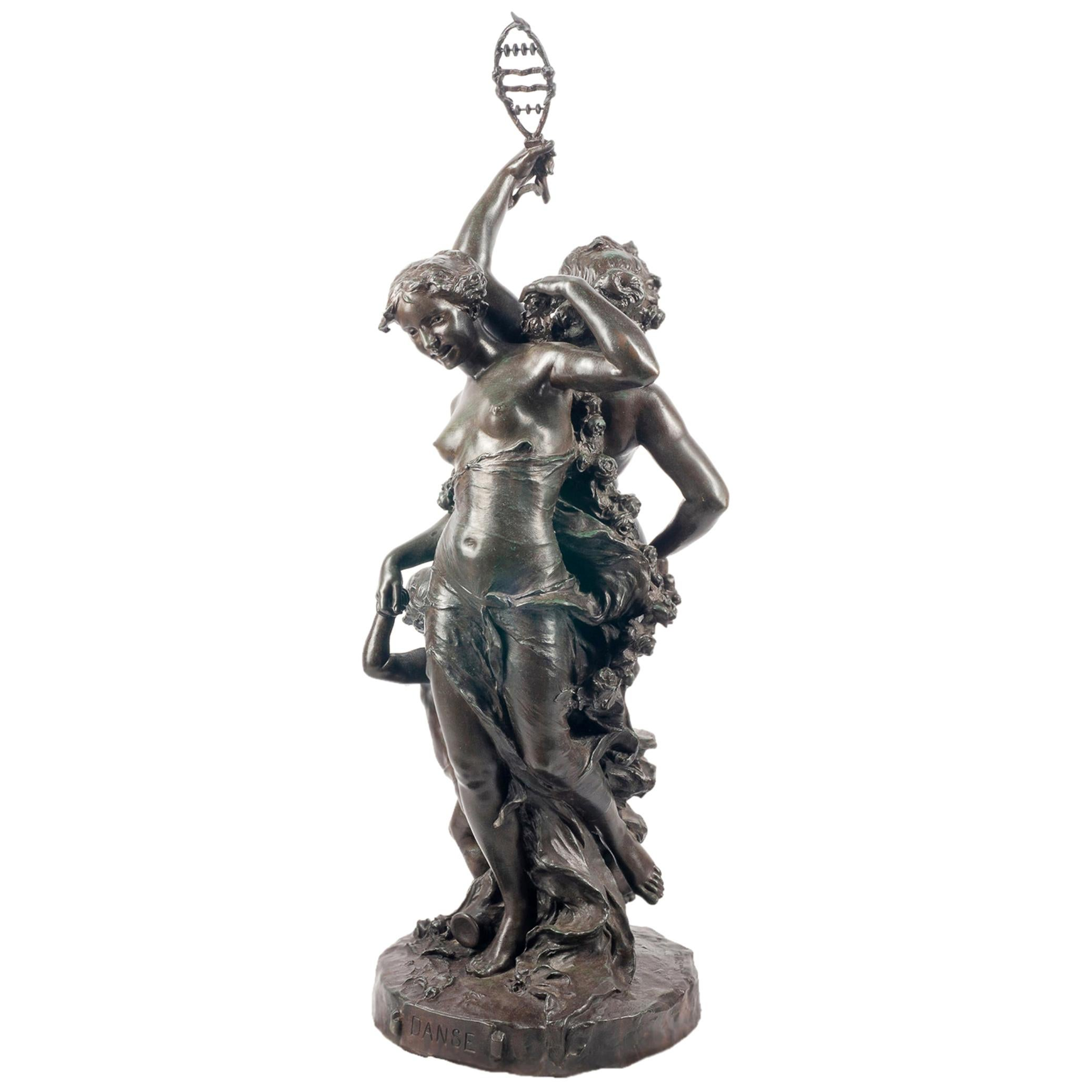 Classical C19th Bronze statue, depicting Music and Dance,  JEAN-BAPTISTE GERMAIN
