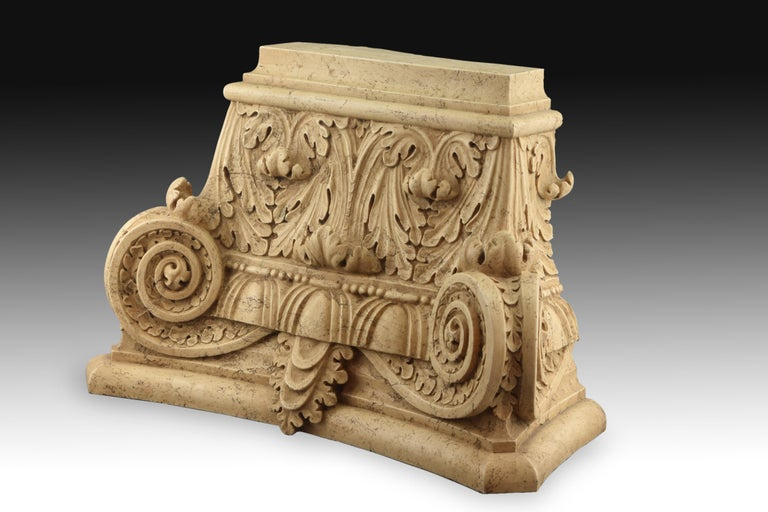Neoclassical Classical Capital, Modeled Alabaster, 20th Century For Sale