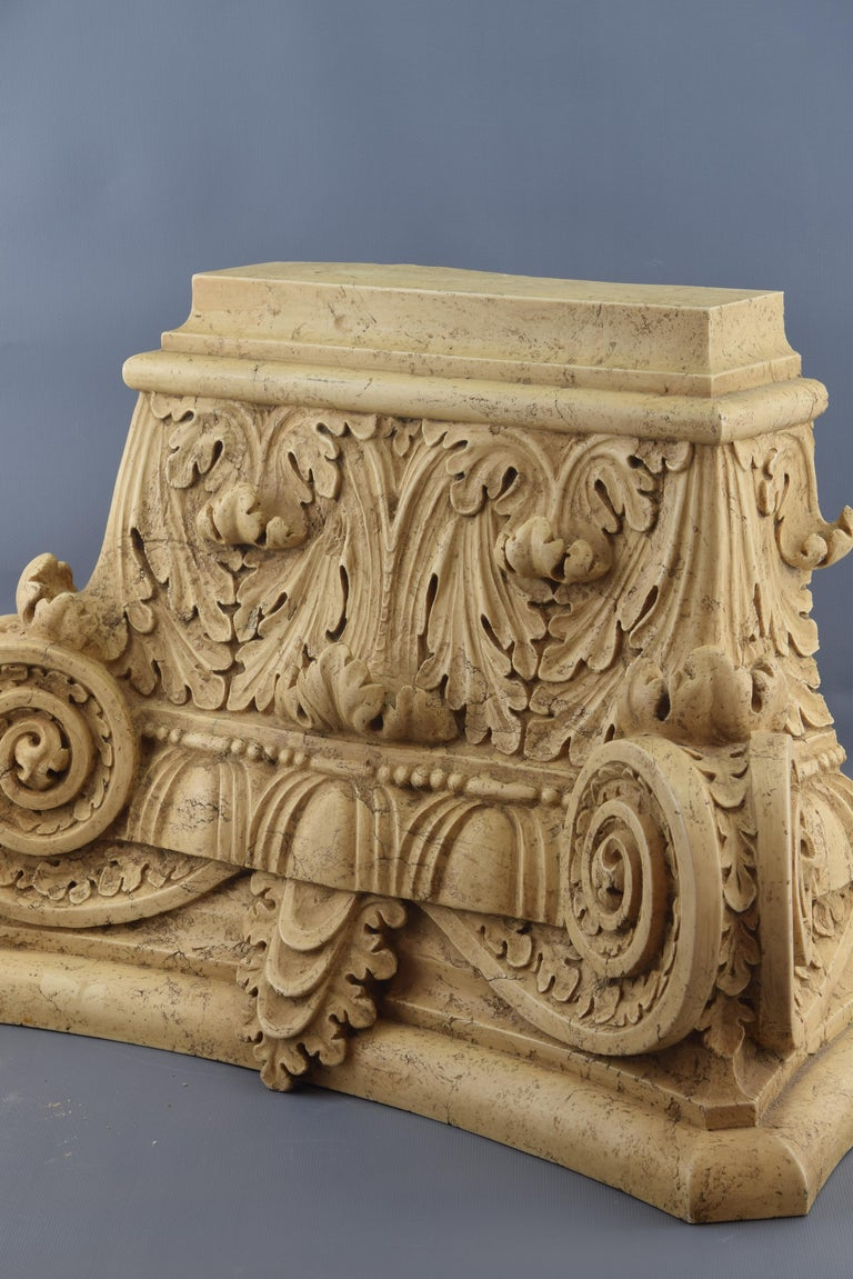 European Classical Capital, Modeled Alabaster, 20th Century For Sale