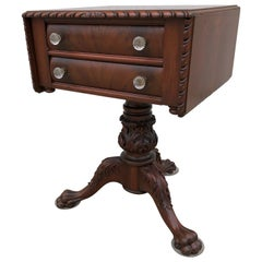 Classical Carved Mahogany Sewing Stand with Acanthus Carved Urn, Claw Feet