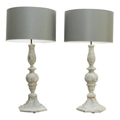 Classical Carved Wooden Finial Lamps with Grey Drum Shades