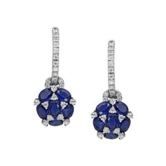 Classical Combination Blue Sapphire White Diamond White Gold Statement Earrings