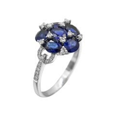 Classical Combination Blue Sapphire White Diamond White Gold Statement Ring