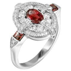 Classical Combination Ruby White Diamond White Gold Ring