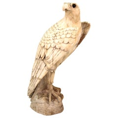 Classical Eagle Sculpture in Carved Marble