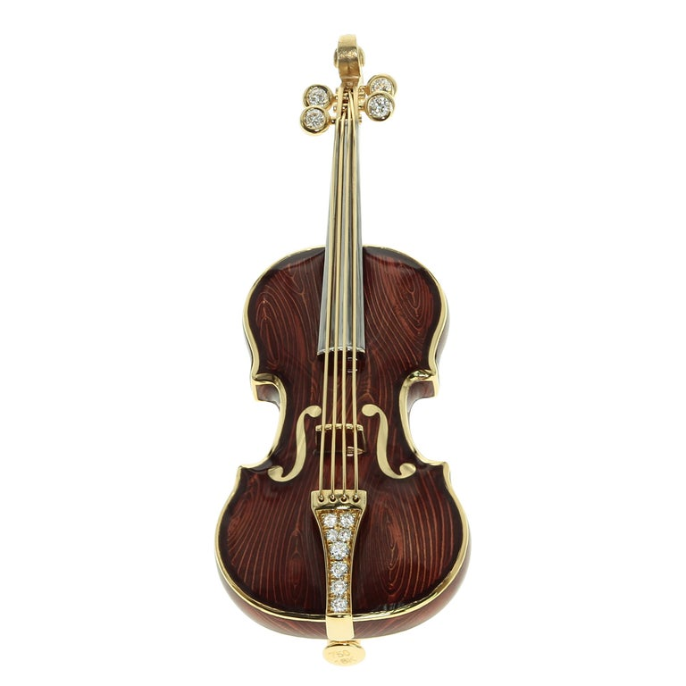 Mousson Atelier represent with prouds! 18 Karat Gold Enamel Violin Brooch. Our signature item form Musical Collection. Body with Enamel and Diamonds. Texture of real wood and transparent Enamel makes this brooch looks as originals from the old