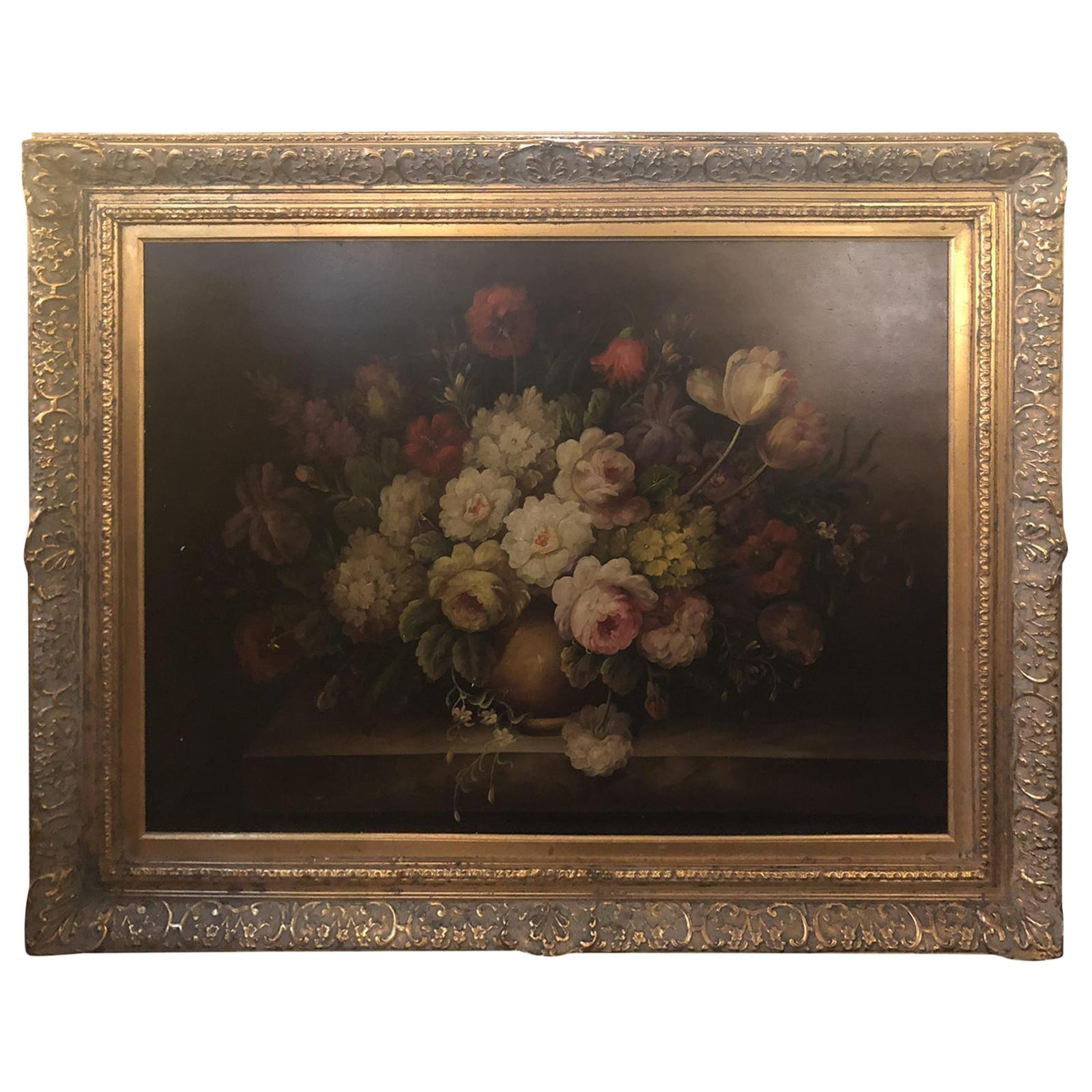 Classical Flower Vase Still Life Painting Oil on Canvas