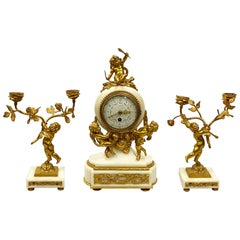Classical French 19th Century Louis XVI Style Clock Set