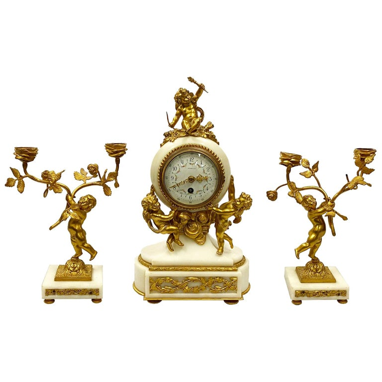 Classical French 19th Century Louis XVI Style Clock Set For Sale