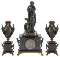 Classical French, 19th Century Mantel Clock Set