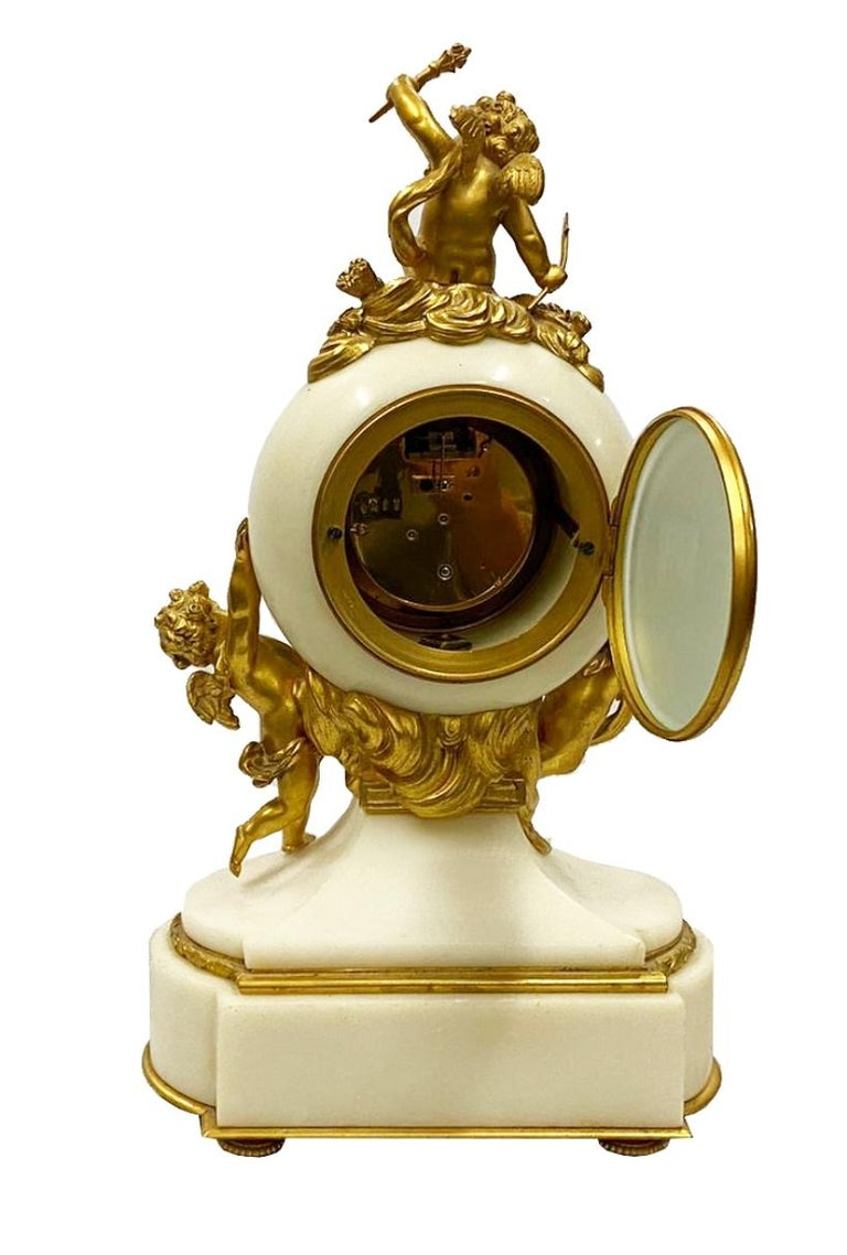 Ormolu Classical French 19th Century Louis XVI Style Clock Set For Sale